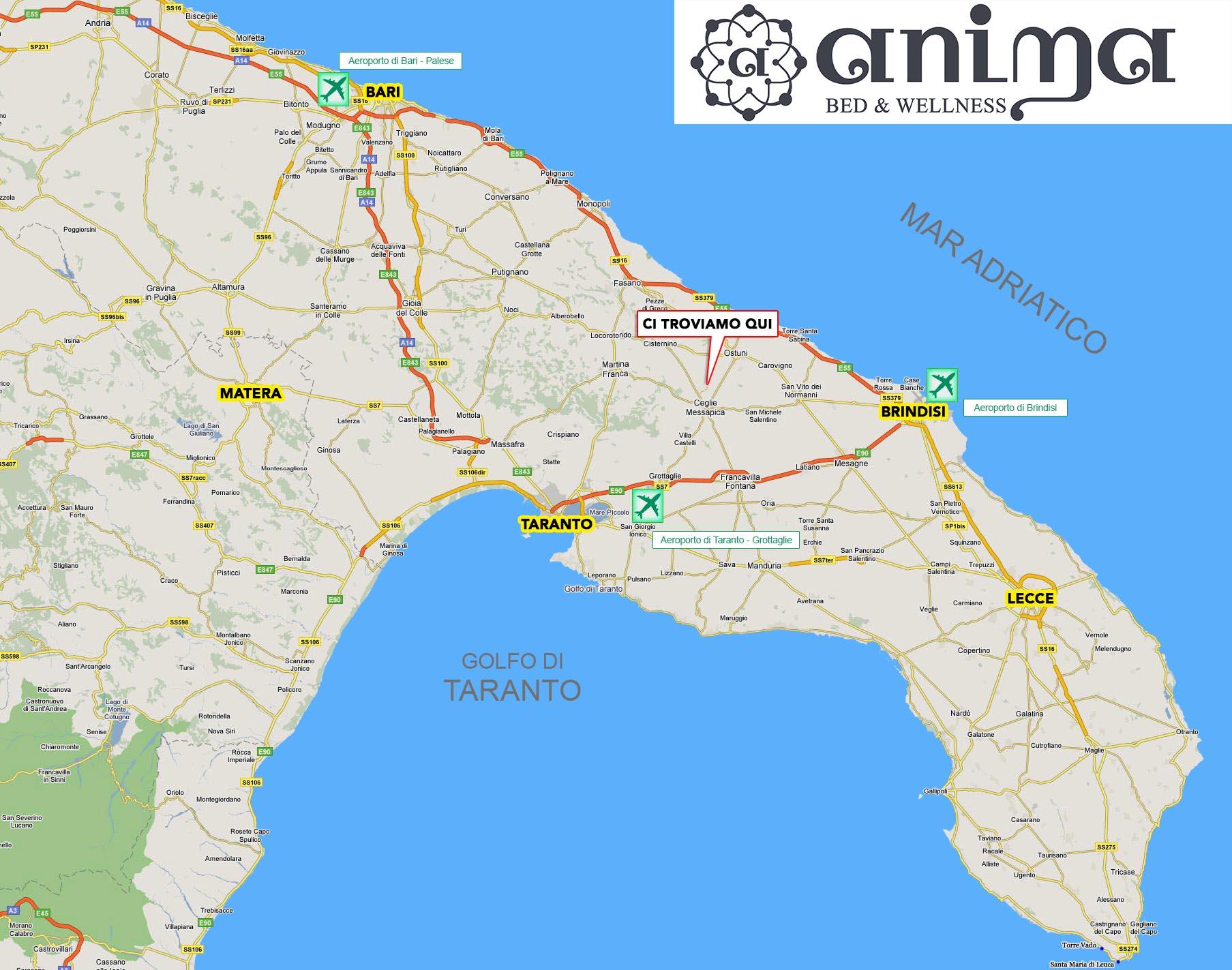 Cartina Aeroporti Puglia.Mappa Puglia Airport Anima Bed Wellness